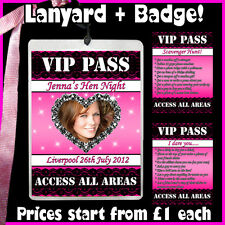 Personalised LACE VIP Pass Lanyard + Badges 4 Hen Night Party - Photo Dare Card