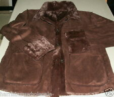 NWOT Warm Brandon Thomas Faux Suede/Fur Reversible Jacket Brown or Cognac M, L
