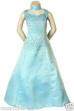 Flower Girl Pageant Evening Graduation Formal blue dress size 6 8 10 12 14 16