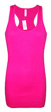 Womens B.C Long Vest Tank Top Ribbed Lycra Cerise Hot Pink Size 6 to 20 Ladies