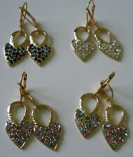 Earrings Heart 14 KT Gold Plated Leverback Dangle With Swarovski Crystals