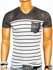 NWT MENS RC DK GRAY ON LT GRAY STRIPED MUSCLE FIT V-NECK TSHIRT MMA LIGHTWEIGHT