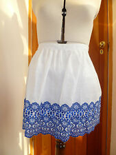 WAREHOUSE WHITE BLUE EMBROIDERY ANGLAISE LINEN MINI SKIRT LINED 14 16 BNWT