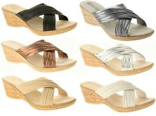 Patrizia by Spring Step MARGE Womens Wedge Slide Cross Band Sandal MADE IN ITALY