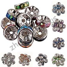 wholesale 100 Pcs Acrylic Silver Plated Spacer Loose Beads Charms Findings 8 mm