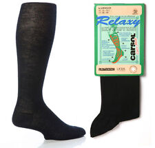 Mens 4 Pairs Navy Blue Relaxy 60% Wool Support Medical Flight Compression Socks