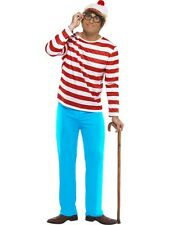 WHERE'S WALLY MENS FANCY DRESS COSTUME WHERES STRIPY OUTFIT + HAT + GLASSES STAG