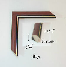 "Custom Wood Picture Frame - 1 1/4"" #8171 - Cherry w/ Gold Lip - Any Size!"