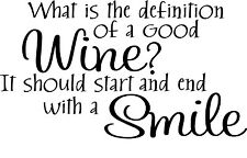 Definition of a Good Wine Vinyl Home Wall  Free & Fast Shipping!! 44 Colors
