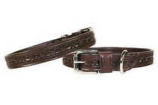 """Hand Tooled Barbwire Padded Dog Collar USA Leather Sizes 8""""-24"""""""