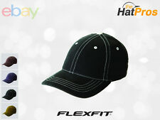 6386 Flexfit Contrasting Stitch Fitted Baseball Blank Plain Hat Cap Flex Fit