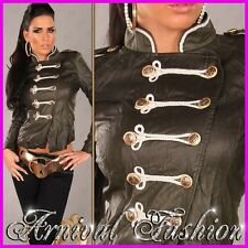 NEW SEXY WOMENS DESIGNER LEATHER JACKET size 6 8 10 12 14 LADIES CASUAL CLOTHING
