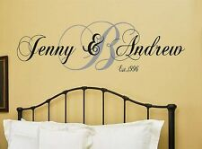 Monogram w Personalized Names Est Date Vinyl Wall Decal