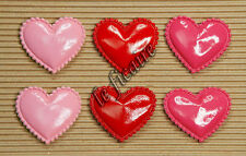 "U PICK~ 1.5"" PVC Heart Appliques Valentine's Cards Crafts Red Pink x60 pcs #2414"