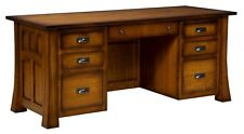 Amish Executive Computer Desk Solid Wood Home Office File Mission Craftsman