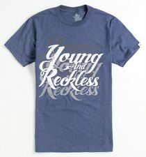 Young & Reckless Heather Script Tee Mens Blue Heather T-Shirt New NWT