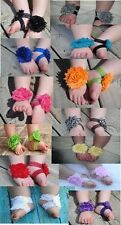 BOUTIQUE SHABBY CHIC FLOWER FOOTLESS SHOE SANDAL BABY SHOWER GIFT PHOTO PROP