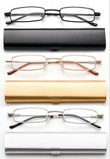 Compact Reading Glasses Very Slim Metal Case Lightweight Various Colors  RL801