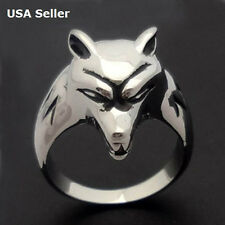 Men's 3D Wolf Head Stainless Steel Biker Ring Non Tarnish Gift US Sizes 8-13 NEW