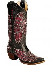 Corral Women's Cowboy Western Boots Black/Pink Stud Crystal Wing Cross A1049