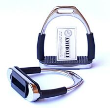 FLEXI SAFETY STIRRUPS HORSE RIDING BENDY IRONS STAINLESS STEEL AMIDALE FREE GIFT