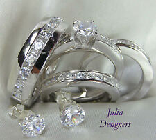 Men Women Engagement Wedding Bridal Ring Set His Her, Her size 4-10, His 6-13.5
