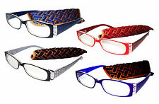 NEW READING GLASSES SPRUNG ARM 5 STRENGTHS 5 COLOURS WEAVE DESIGN ARMS D531