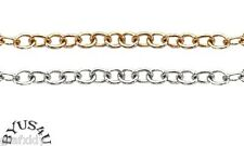 BEADING CHAIN 3mm OVAL GOLD or SILVER SOLDERED ALTERNATE LINKS FREE SHIPPING
