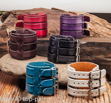 Classic Vintage Men's Double Layers Genuine Leather Bracelet Wristband Wide Cuff