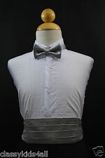 Wedding Party SILVER CUMMERBUND CUMBERBAND + BOW TIE Boy Children Tuxedo Suit