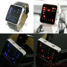 Blue/Red LED Binary Watch Digital Black/White Leather/Silicone Mens Womens Gift