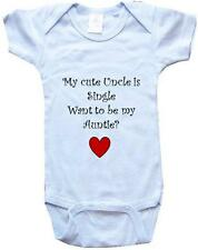 MY CUTE UNCLE IS SINGLE -BigBoyMusic Baby Designs-White, Blue or Pink One-Pie