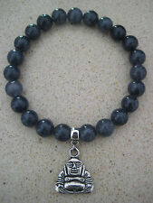 Silver Buddha Charm on Gemstone Beaded Bracelet  (Pick your Gemstone Colour)