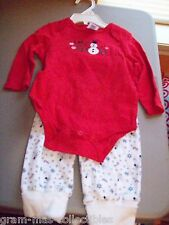 "INFANT CHRISTMAS 2 PC PANT AND ONE PIECE SET ""LET IT SNOW"" WITH SNOWMEN DESIGN"
