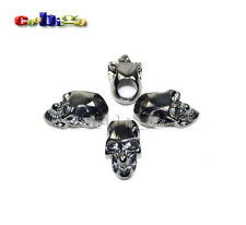 6pcs Single Vertical Hole Charm Metal Skull For Paracord Knife Lanyards