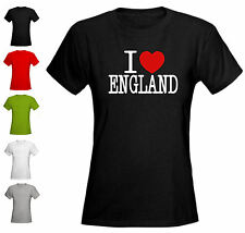 I LOVE ENGLAND - LADIES FITTED T-SHIRT - ALL SIZES + COLS (NY Heart UK London)