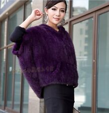 100% Real Genuine Knitted Mink Fur Coat Hoody Jacket Cape Outwear Spring Autumn