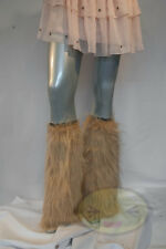 Gold Tan Fluffy Legwarmers Rave Wear Accessories