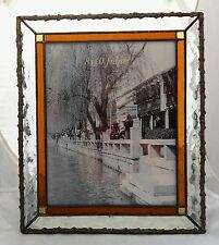 """Art Deco Style Leaded Glass Free Standing Photo Picture Frame 10 x 8"""" NEW"""