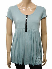 Womens Papaya Scoop Neck Tunic Top Teal Blue Size 8 to 16 Ladies WD13