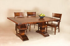 Amish Rustic Expandable Dining Table Chairs Large Solid Wood Trestle Sets Plank
