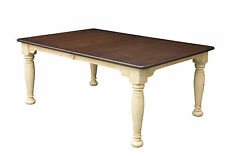 Amish Farmhouse Dining Table Rectangle Solid Wood Extending Country Kitchen New