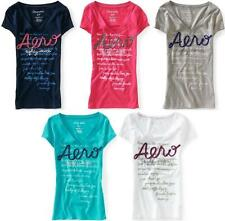 Aeropostale womens AERO RIBBON V NECK  logo T shirt Tee XS,S,M,L,XL,2XL NEW NWT