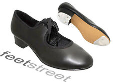 LOW HEEL BLACK TAP SHOES WITH TOE + HEEL TAPS. Adults Size 6 ~  8