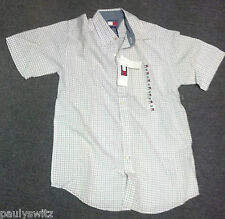 NEW TOMMY HILFIGER Button Down Plaid RED WHITE & BLUE Shirt for Kids With Tags
