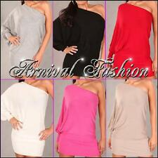 NEW SEXY WOMEN'S JUMPER DRESS size 8 10 12 LADIES PULLOVER ONE SHOULDER TOP S M