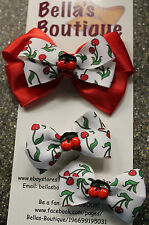 UPICK RED CHERRY Boutique EMO Scene Bow Hair Clips  Pigtail Set or Headbands