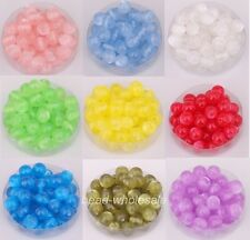 100pcs New Fashion Smooth Round Acrylic Cat's Eye Spacer Loose Beads Charm Jelly