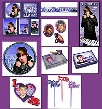 JUSTIN BIEBER Party Plates Cups Napkins Tablecover Cake Banner Bags Inviations *