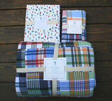 Pottery Barn Kids Madras patchwork Quilt sham Numbers letters organic sheet set